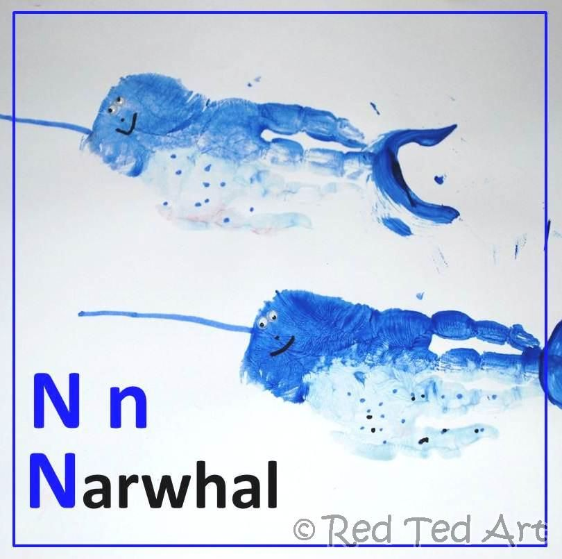 narwhal for letter N  Great site for handprint alphabet and so imaginative! Love it!