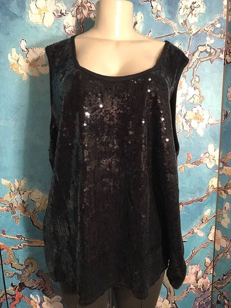 1aab02aa56f5f LANE BRYANT PLUS 26 28W BLACK SEQUIN FRONT SCOOP NECK SLEEVELESS TUNIC TANK  TOP   · Formal TopsCasual ...