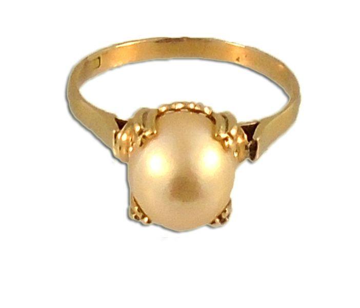 Estate Pearl Ring in 18K Gold  8.2mm