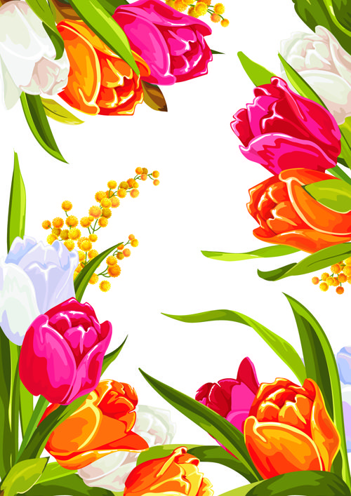 Colored Beautiful Flowers Design Graphics Vector For Free Download