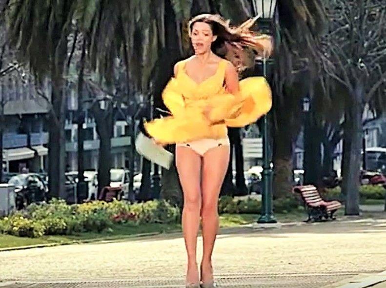 windy day dress upskirt