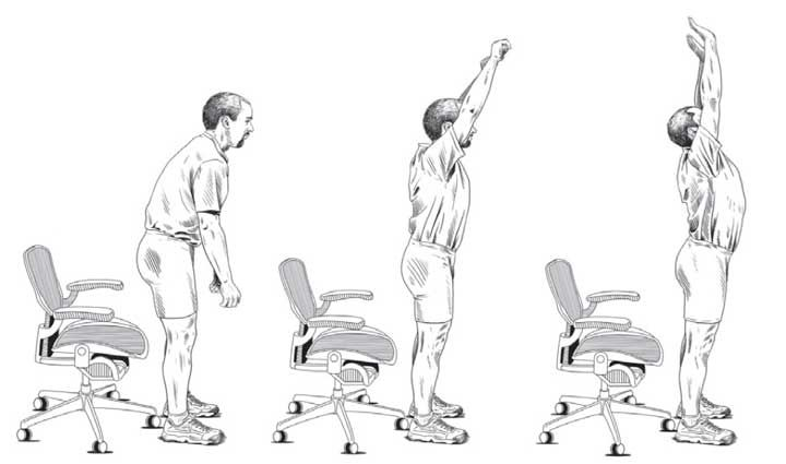 Dr Stuart Mc Gll: Even with the dynamic sitting supports, those who have back pain exacerbated from sitting generally are able to reduce disc annulus stresses with the following exercise (shown below, source: Back Mechanic ). Stand up out of the chair, reach for the ceiling, then push for the ceiling with the hands, then fully and deeply inhale. This process should take about half a minute. Gentle and progressive extension of the lumbar spine is achieved dispelling the accumulated stresses.