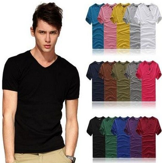 11 Color 2014 Man Clothing T Shirt High-Elastic Cotton Men's Short Sleeve V  Neck
