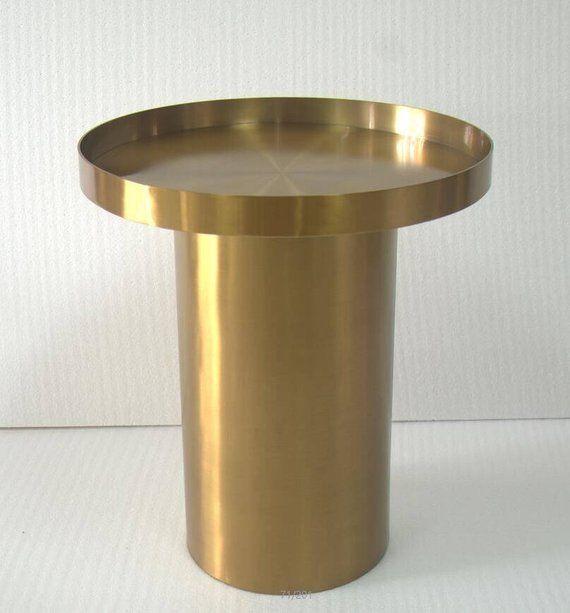 Wohnzimmer Farbe Gold: Runde Metall-Couchtisch, Designer-Couchtisch, Edelstahl