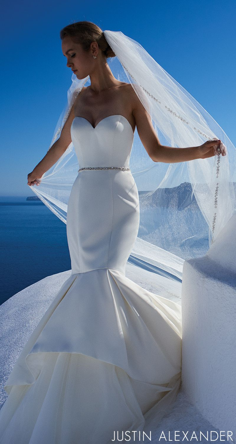 Style 8933: Satin Mermaid Wedding Dress Accented with Apron Tulle ...