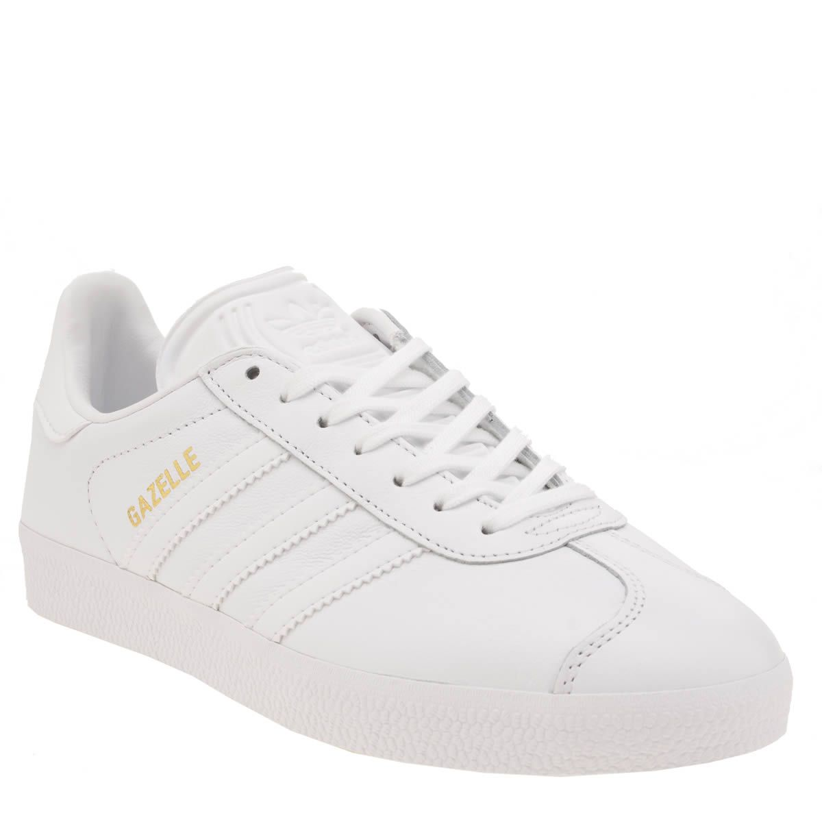 db26fce6e1d156 Buy cheap white leather gazelles  Up to OFF52% Discounts