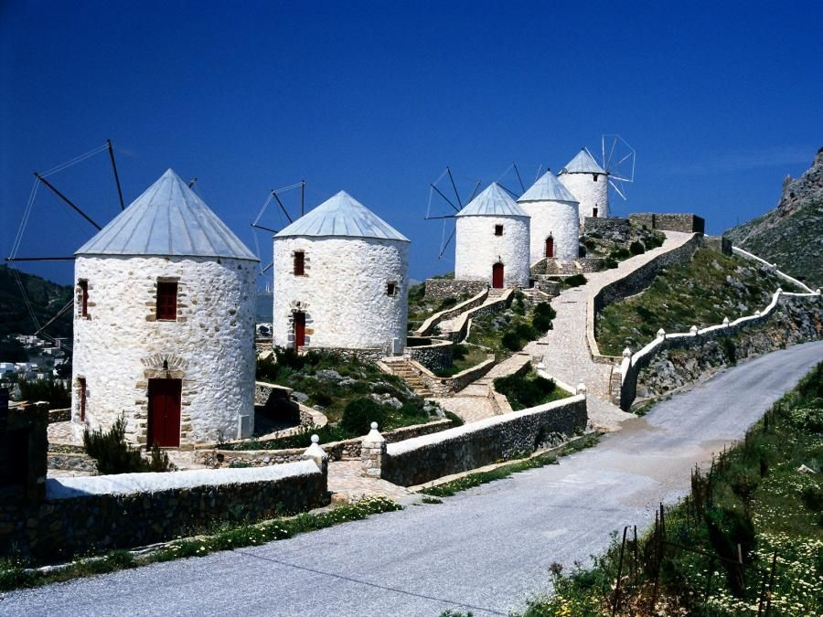 Windmills Overlooking Hora, Dodecanese, Leros, Greece