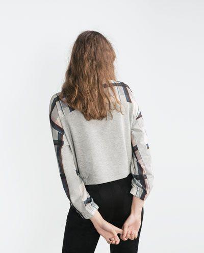 Image 4 of COMBINED CHECK SWEATSHIRT from Zara