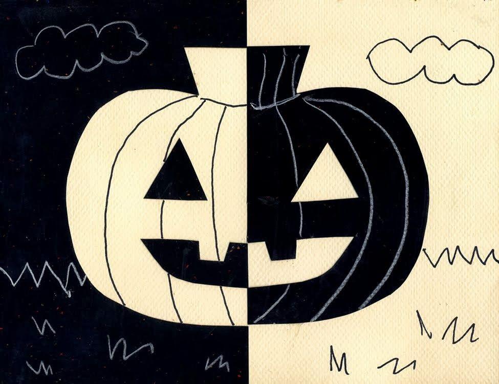Halloween-kurpitsa - kuva ja varjokuva, symmetria