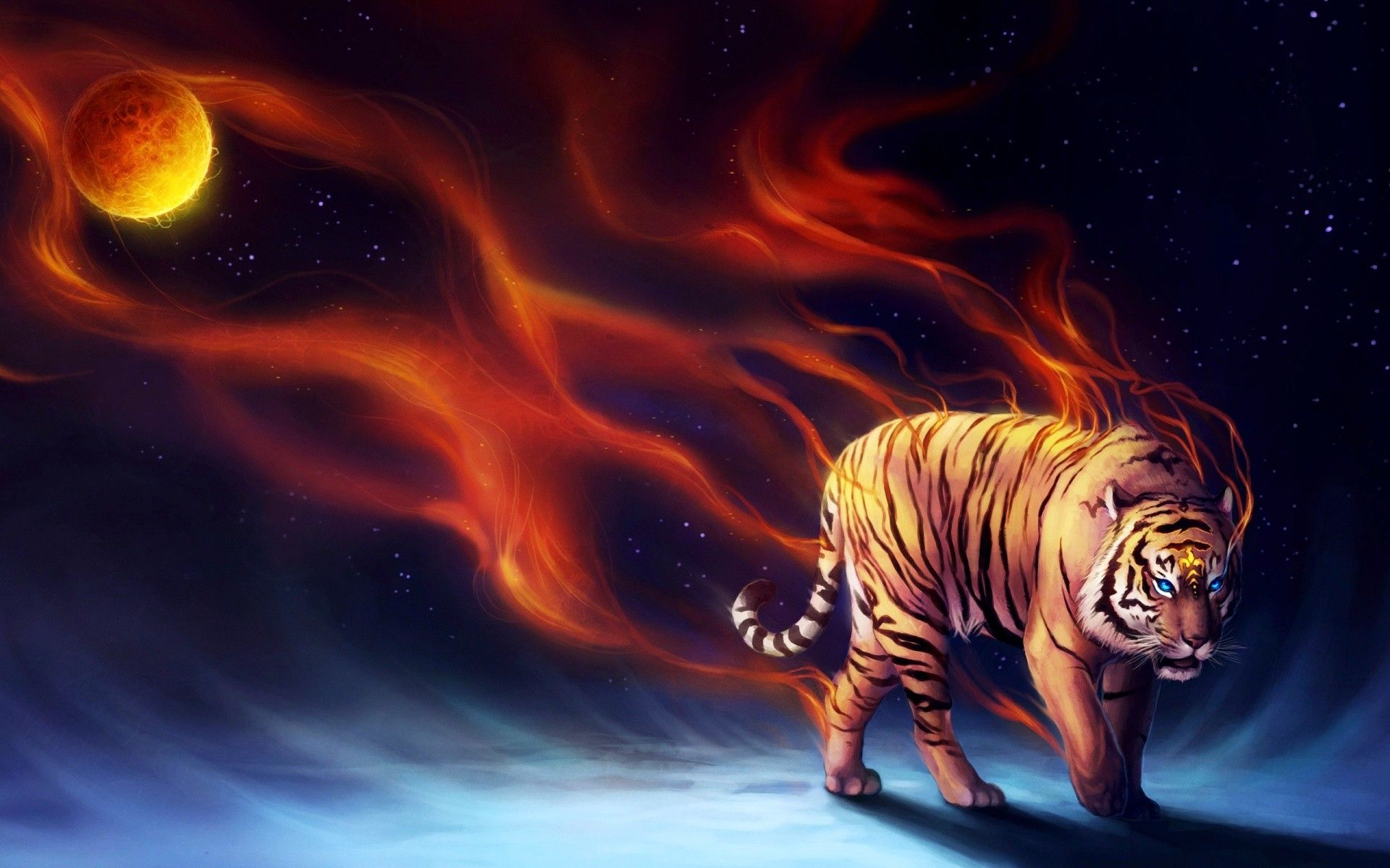 Digitalart Photo Manipulation Art Fire Tig Wildlife Endangered