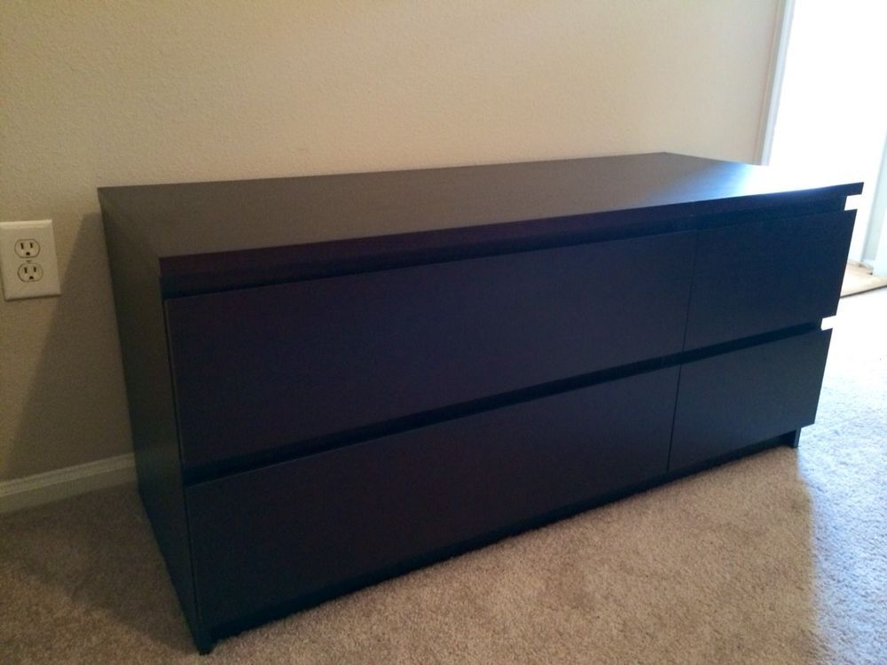 Ikea Black Malm 4 Drawer Dresser