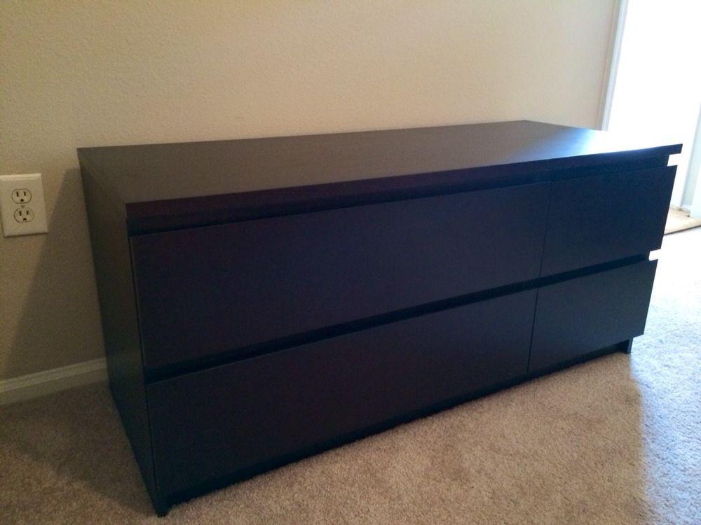 Ikea Black Malm 4 Drawer Dresser Chest Of Drawers