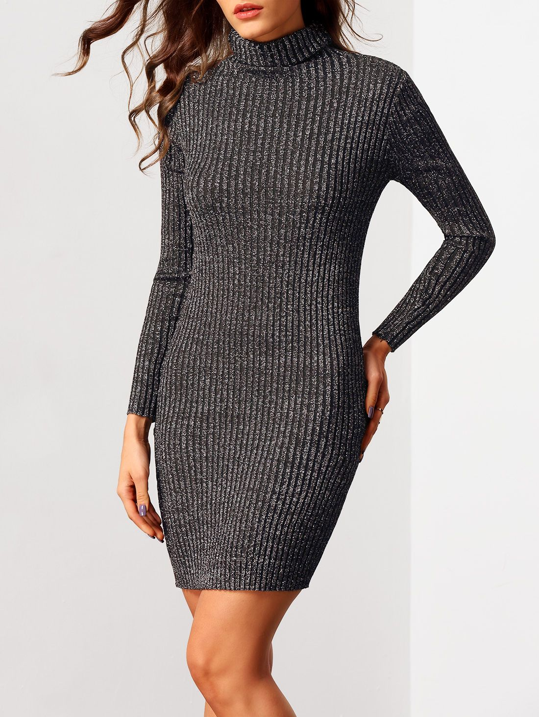Shop black turtleneck long sleeve bodycon sweater dress online