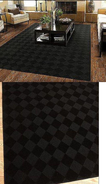 household items 5 X 7 Area Rug Modern Black Carpet Stain Resistant
