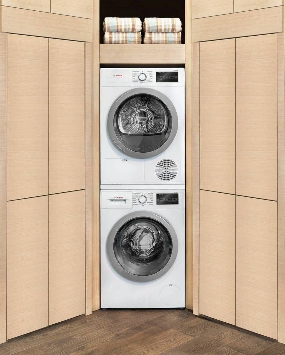 Bosch 500 4 Cu Ft Stackable Ventless Electric Dryer White Energy Star Lowes Com Stackable Washer And Dryer Stackable Washer Laundry Room Storage Shelves