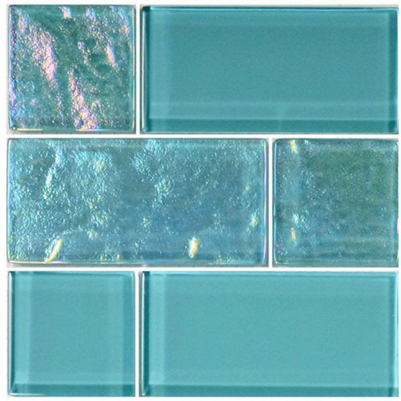 Turquoise Kitchen Wall Tiles: Turquoise, Mixed - Glass Tile