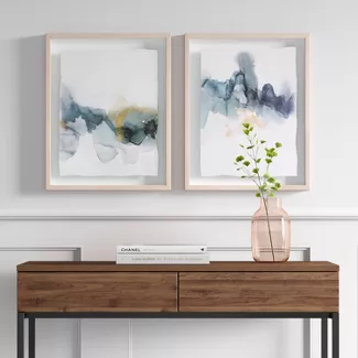 Set Of 2 16 X 20 Blue And Gold Watercolor Framed Print Project 62 Stylish Wall Art Gold Watercolor Frames On Wall