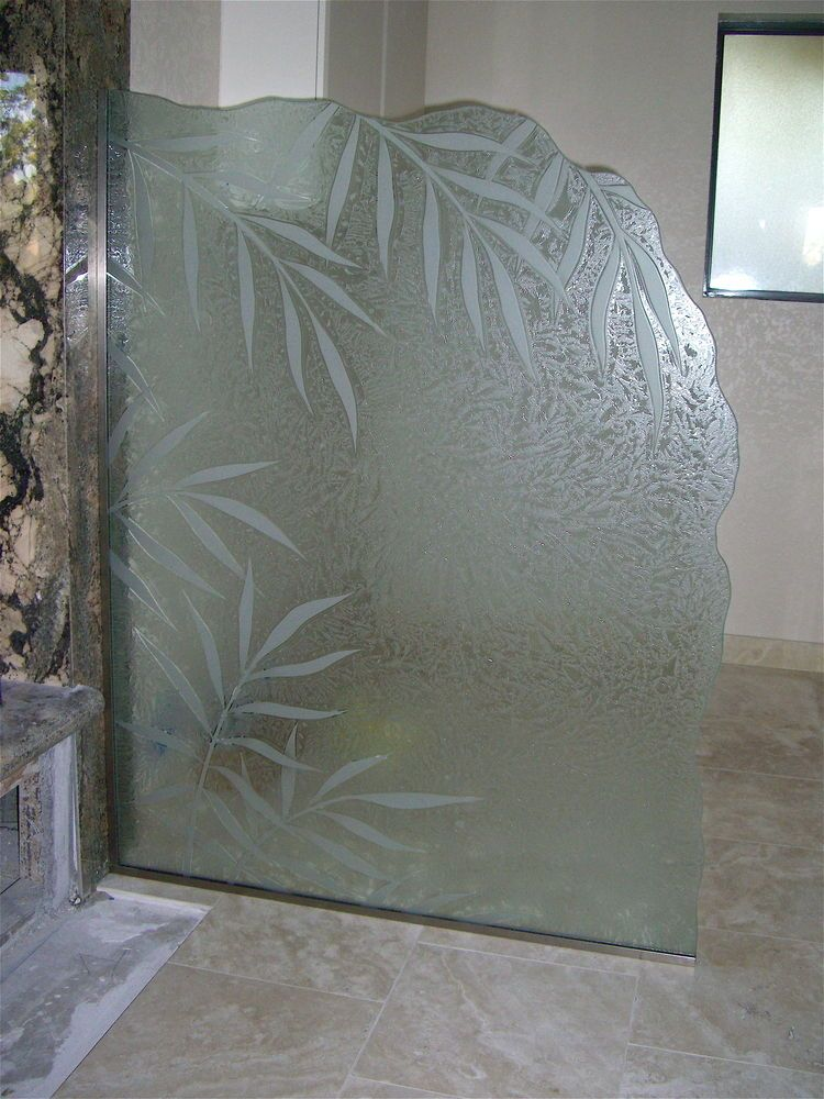 Glass shower panels etched glass tropical design leafy for Small bathroom glass partition designs