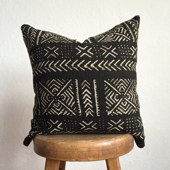 Authentic African Mudcloth Pillow Wild Red Decorative