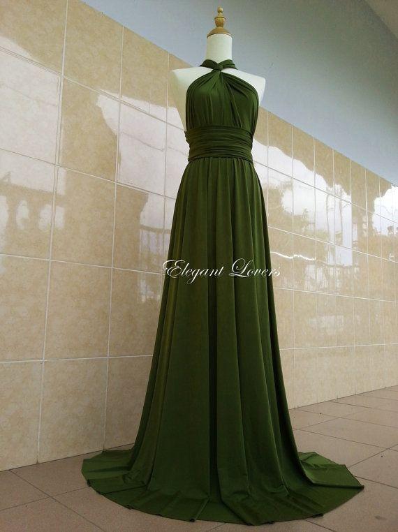 Vestidos de noche color verde olivo