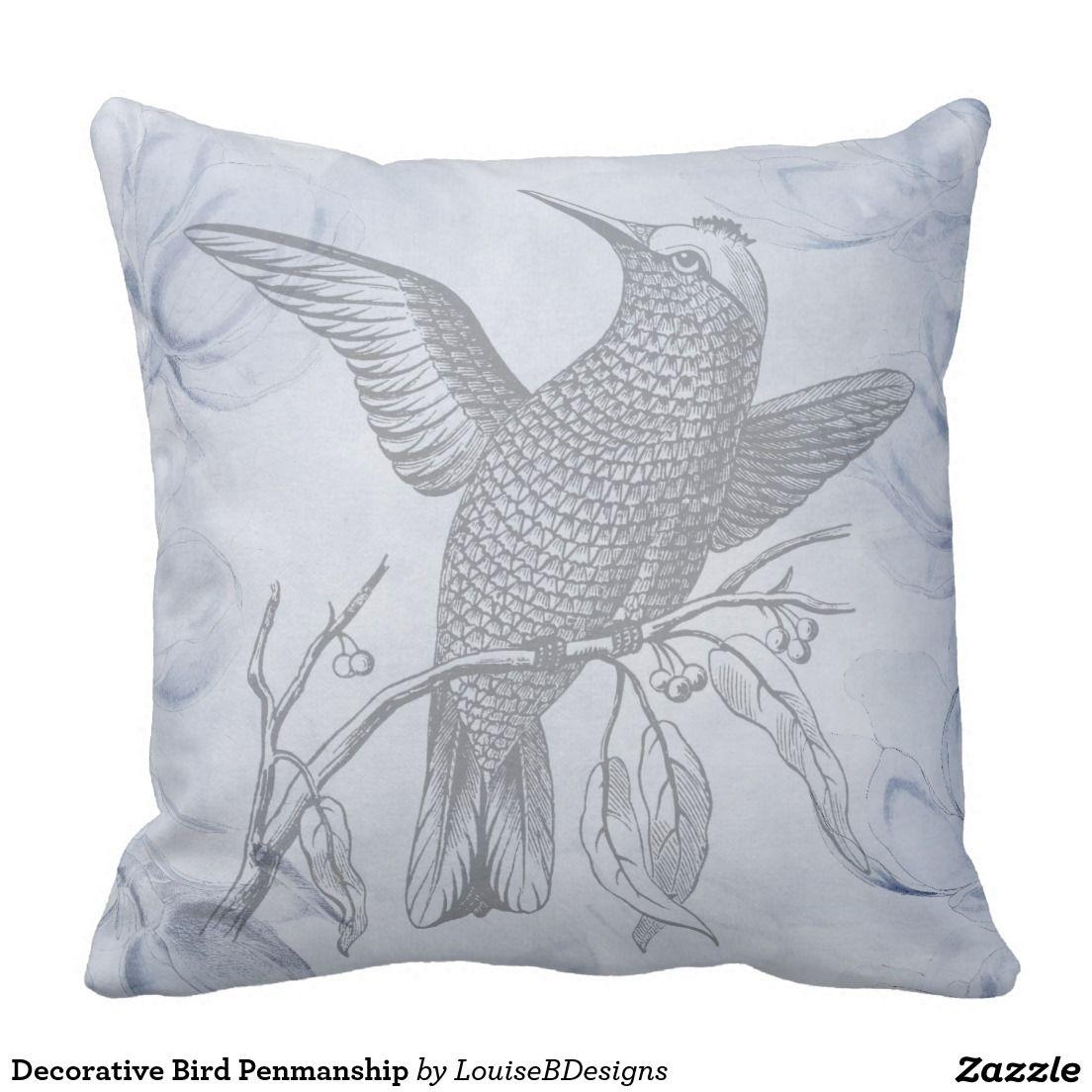 Decorative Bird Penmanship Throw Pillow