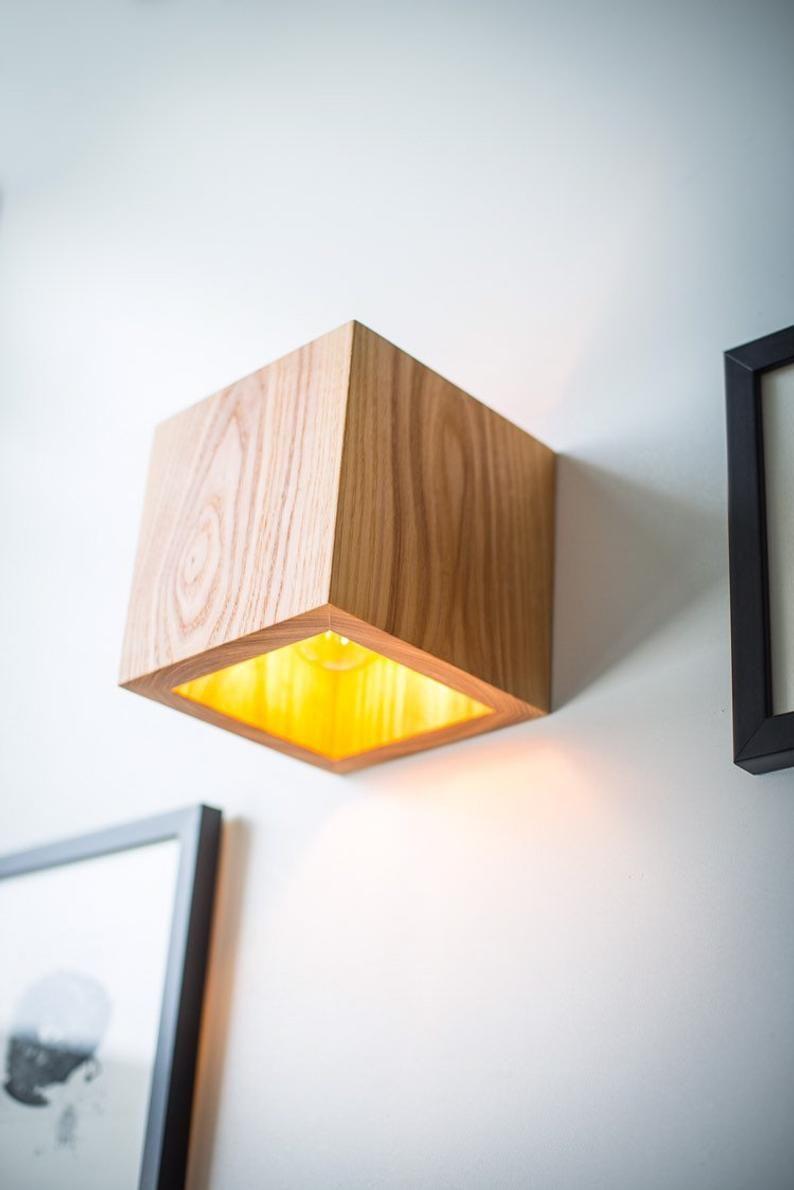 wood lamp Q#374 handmade. wall lamp. wooden lamp. sconce