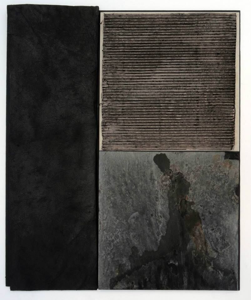 Abigail Stern - Untitled 13, 2013: Chinese ink, house paint, xuan, slate, ceramic tile, corrugated cardboard, metal, and wood on blackboard. (23 1/2 x 20 x 2 3/8 inches)