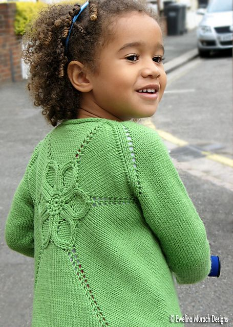 Children s Cardigan Knitting Patterns : Ravelry: Flower Cardigan pattern by Ewelina Murach. Knitted in 8ply DK and de...