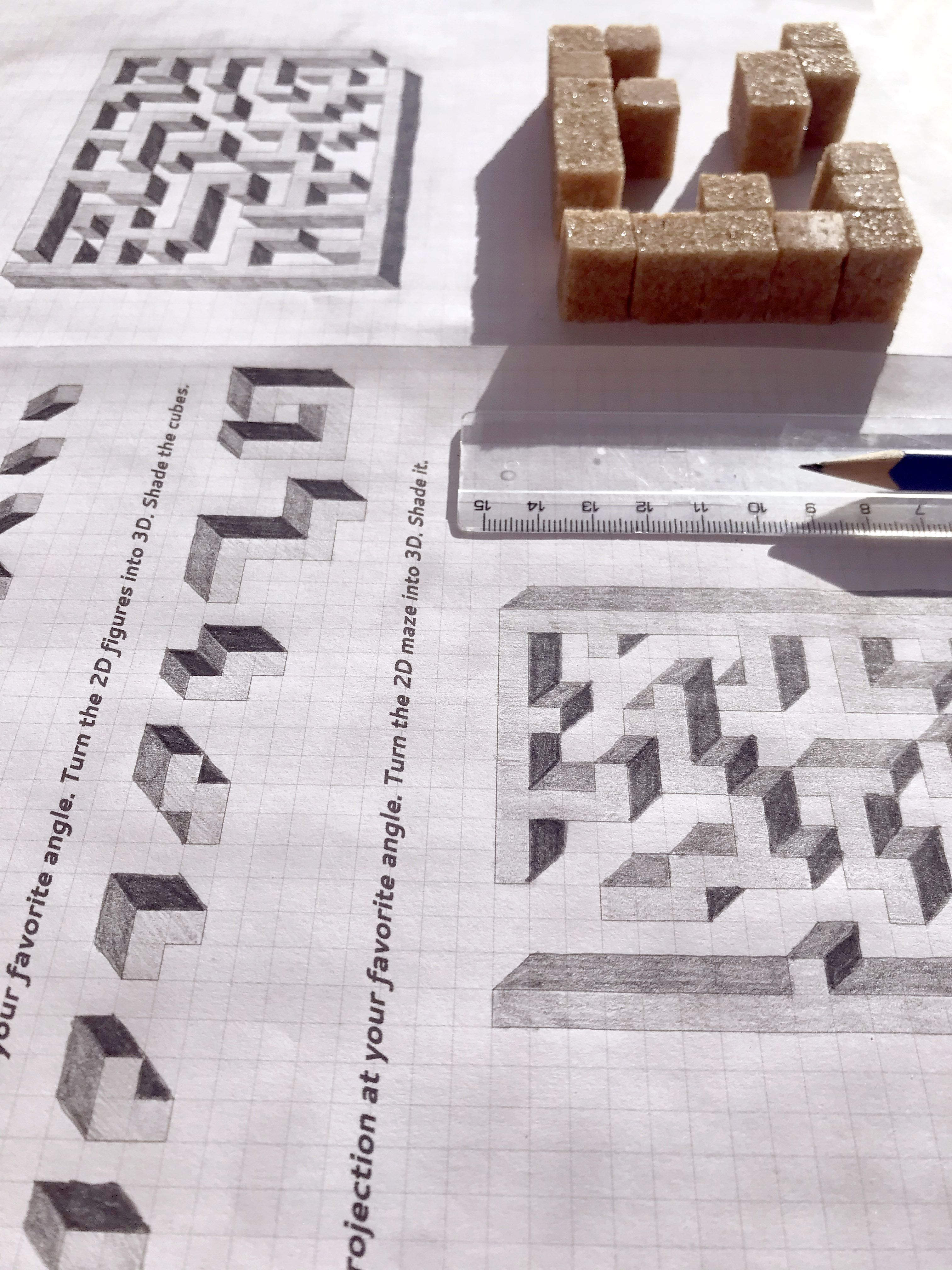 Draw A 3d Maze Oblique Projection Worksheet