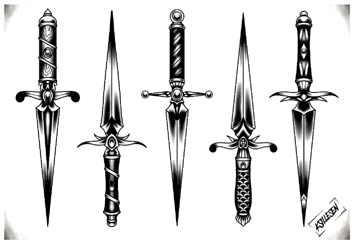Kristian On Instagram Finished This Little Sheet Flash Sheet Dagger Daggertattoo Oldsch In 2020 Traditional Dagger Tattoo Traditional Black Tattoo Dagger Drawing