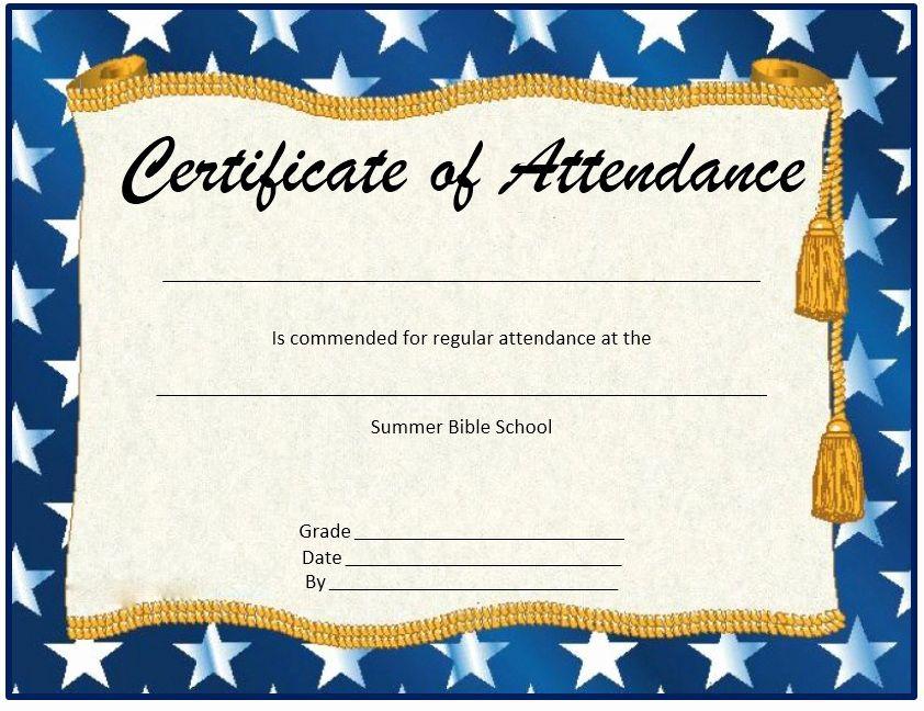Certificate Of Attendance Template Free Best Of 13 Free Sample Perfect Attendance Cert Perfect Attendance Certificate Attendance Certificate Perfect Attendance
