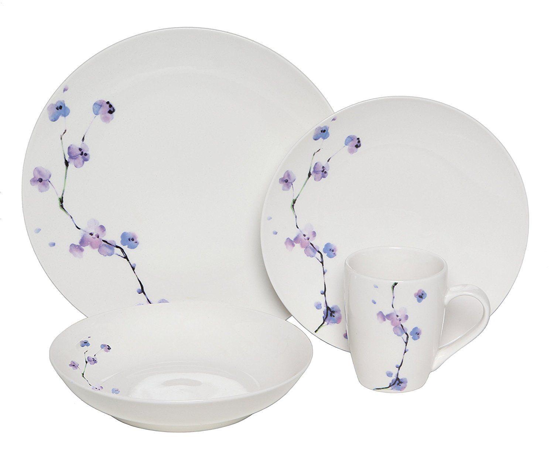Amazon.com | Melange Coupe 32-Piece Porcelain Dinnerware Set (Purple Zen)  sc 1 st  Pinterest & Amazon.com | Melange Coupe 32-Piece Porcelain Dinnerware Set (Purple ...