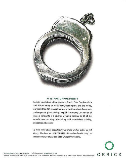 Orrick Handcuff Law Student Recruiting -Ross Fishman Marketing - law firm brochure