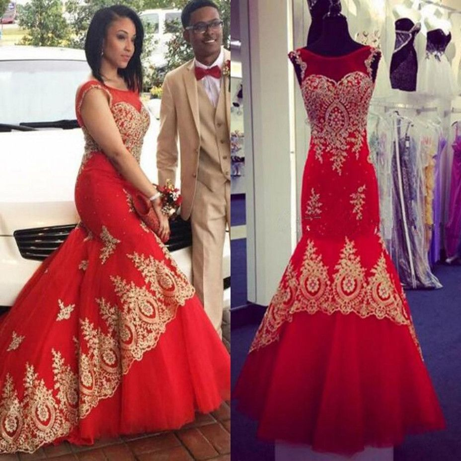 Click to buy ucuc gold and red wedding dresses mermaid appliques lace