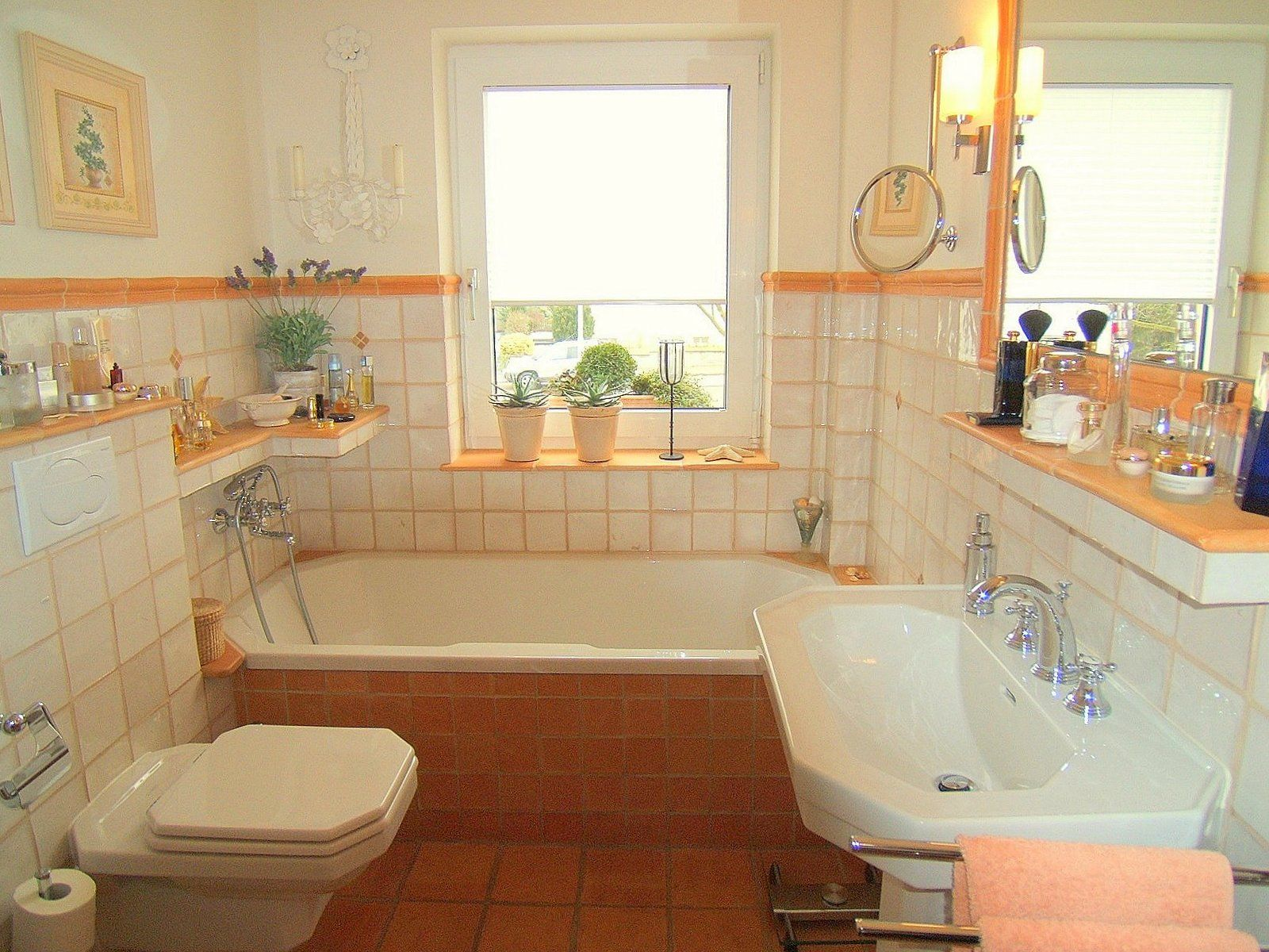 Fliesen Bad Terracotta Badezimmer Fliesen Terracotta Bungalow Haus Bauen Corner Bathtub