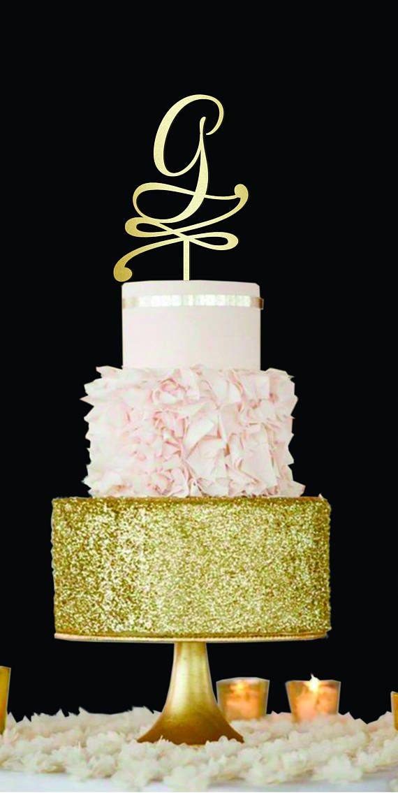 Wedding Cake Toppers Letter G cake topper Gold Monogram Cake Topper ...