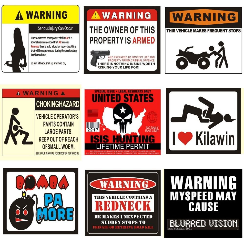 PLotFunnyWarningBumperCarStickerDecalSexyWomenRomoving - Car signs and names