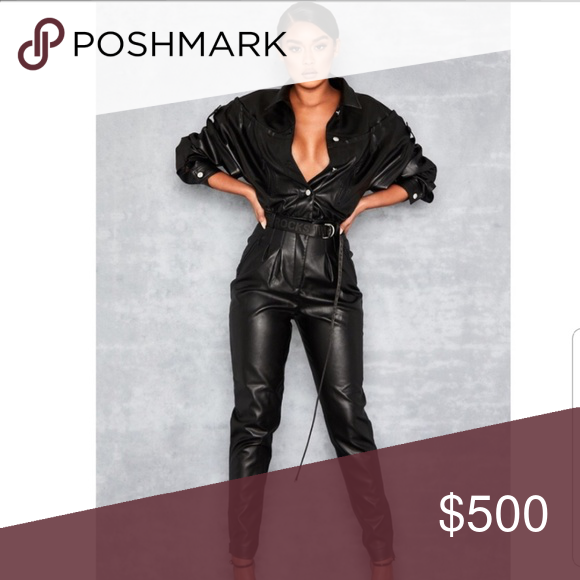 Iso Relent Leather Vegan Jumpsuit Medium Help A Sis Out Looking For This Great Condition In A Medium Mistres Jumpsuit Leather Pants Jumpsuits Rompers