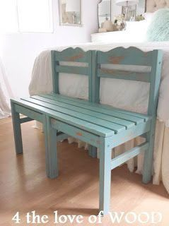 A BENCH MADE FROM CHAIRS – turquoise & pine (4 the love of wood),  #bench #chairs #cutebaseme…