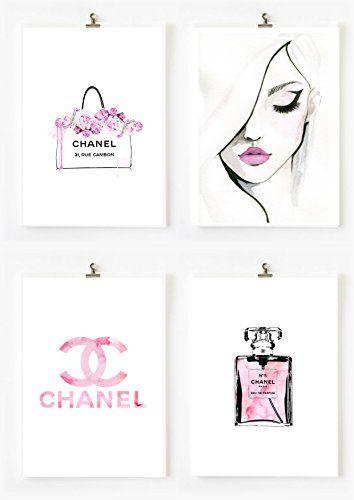 071ed1135498b 8.5x11 Set of 4 Coco Chanel Logo Splash Black Watercolor ... | Art ...