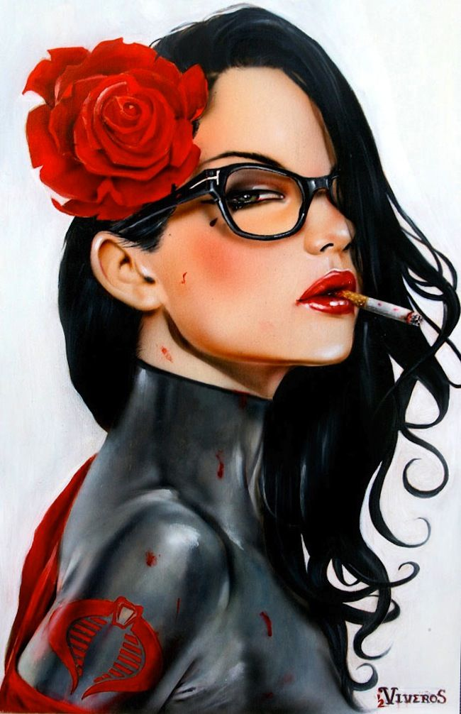 More Seductive Femme Fatale Paintings by Brian M. Viveros   Art ...