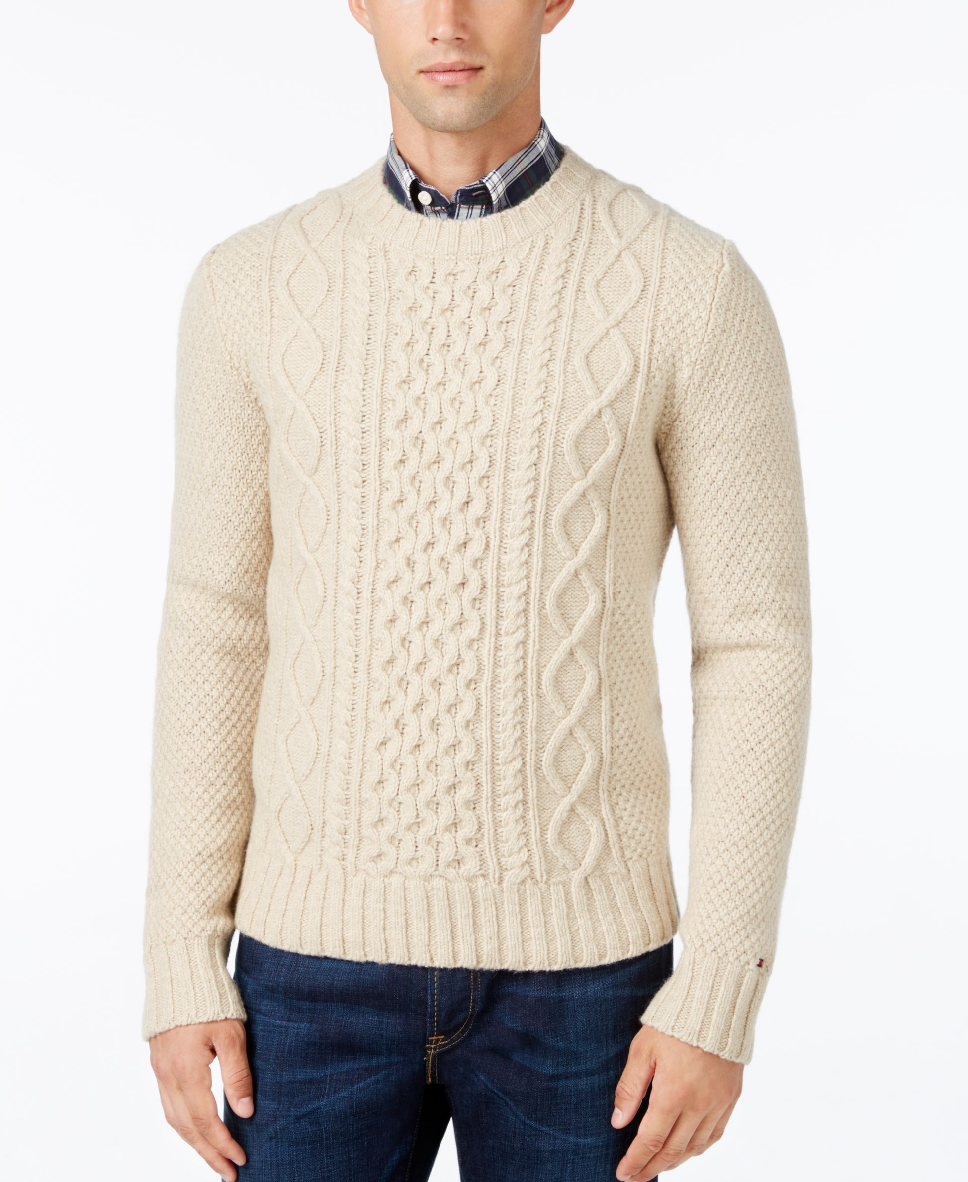 Ideal for layering all season long, this Finn cable-knit sweater ...
