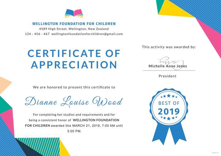 Graduation Appreciation Certificate Template Free Jpg Google Docs Word Template Net Certificate Of Appreciation Certificate Templates Classroom Certificates