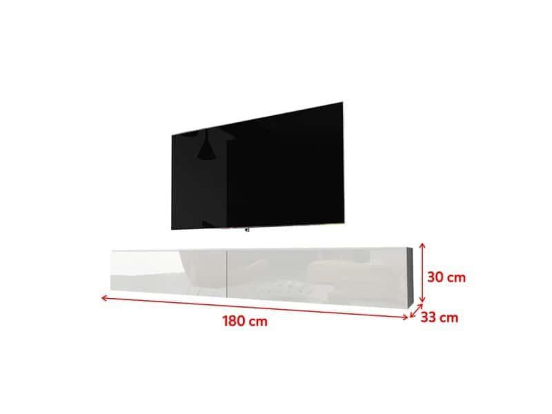 meuble tv kane 180 cm blanc mat