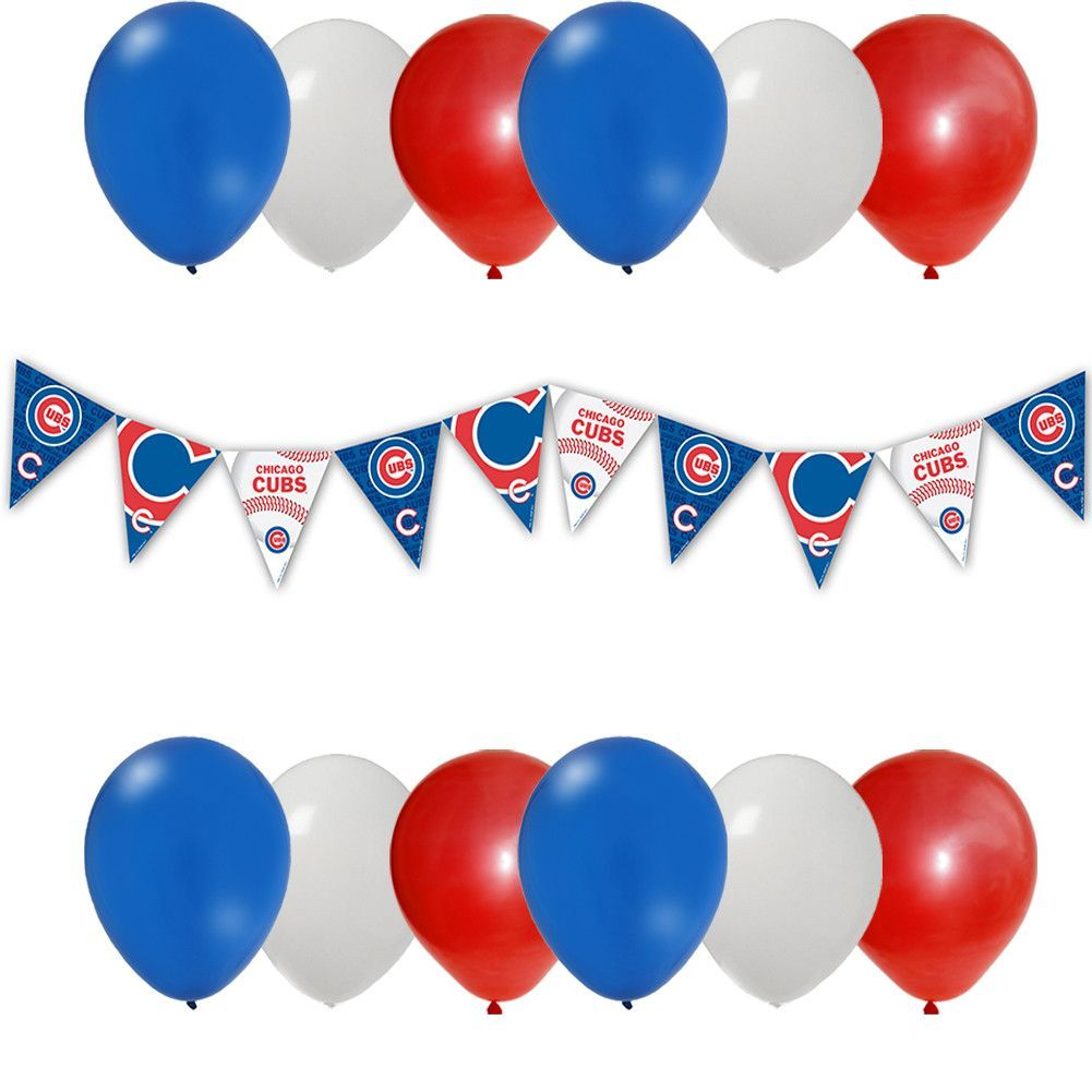Chicago Cubs Banner Measures Approximately 10 Feet Long 12 Latex Round Balloons Red White Blue Go