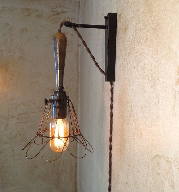 trouble lamp sconce plug in vintage industrial style edison light on etsy
