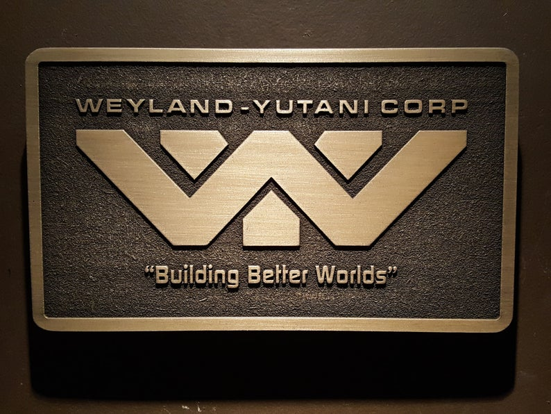 Weyland Yutani Corporation Alien Logo Plaque Brass Finish Etsy Alien Plaque Alien Logo