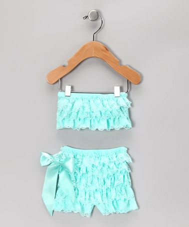 Take a look at this Aqua Lace Ruffle Top & Bottoms - Infant by Miss Fancy Pants on #zulily today!