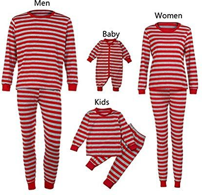 b9bd8a4f83 Amazon.com   Iusun Matching Family Pajamas Set Men Women Boy Girl Baby  Infant Striped Long Sleeve Blouse + Long Pants (6M