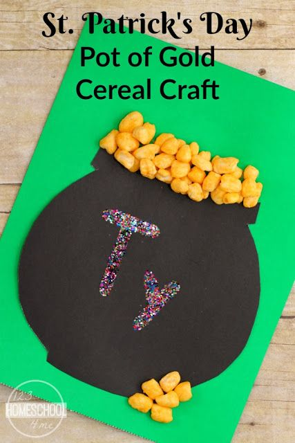 St Patrick S Day Pot Of Gold Cereal Craft St Patricks Day